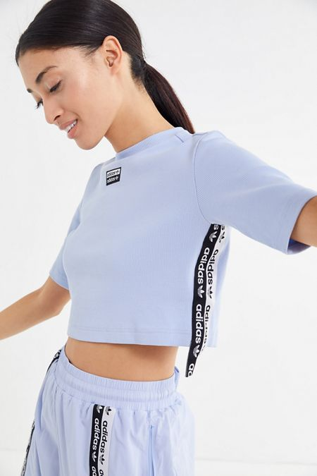7d833bfd42bb adidas Originals Reveal Your Voice Ribbed Side Tape Cropped Tee