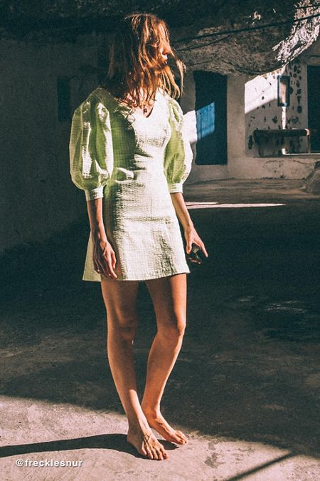 3c721f3ff4 UO Lena Gingham Puff Sleeve Mini Dress