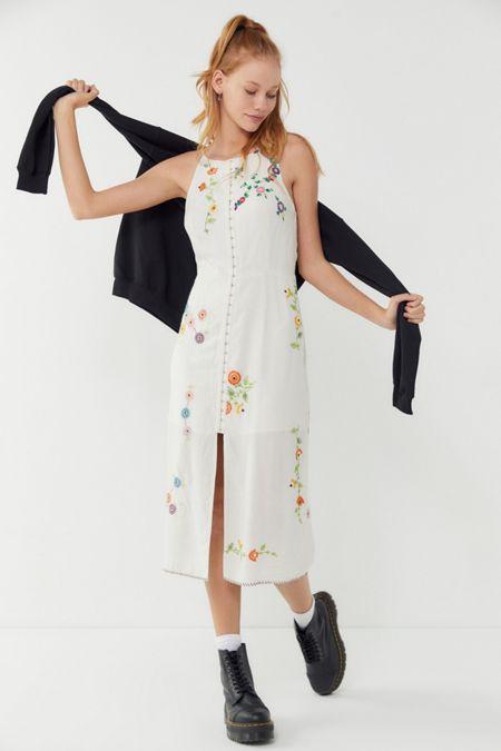 234672c2ece UO Josie Floral Embroidered Linen Midi Dress