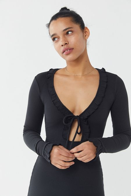 839a9480cde UO Gemma Ruffle Tie-Front Cut-Out Mini Dress