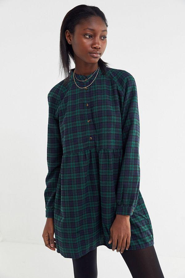 363bbebfda3 UO Plaid Flannel Mini Shirt Dress