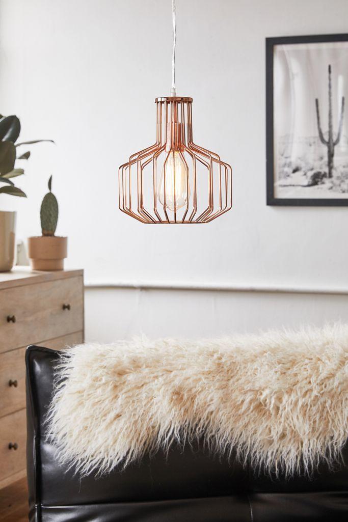 Caila Copper Caged Pendant Light
