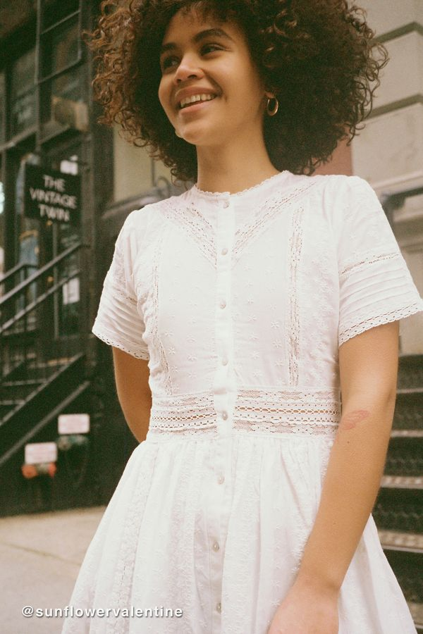 ab810e724 UO Victoria Eyelet Button-Front Midi Dress | Urban Outfitters