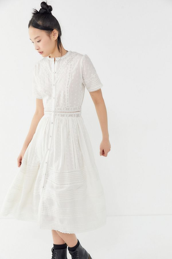 74bab8569 UO Victoria Eyelet Button-Front Midi Dress | Urban Outfitters