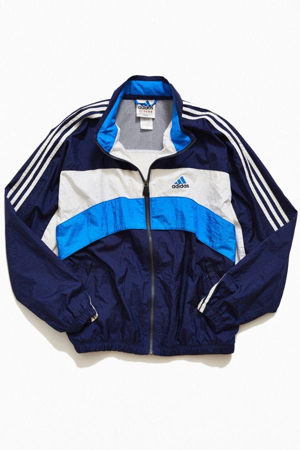 315f0cb1fedb Vintage adidas  90s Blue Block Stripe Windbreaker Jacket