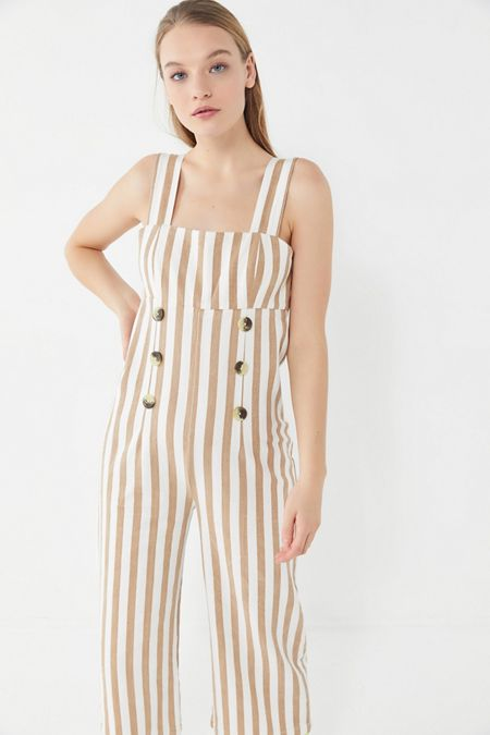 da291b46ed UO Murphy Striped Button-Front Cropped Jumpsuit