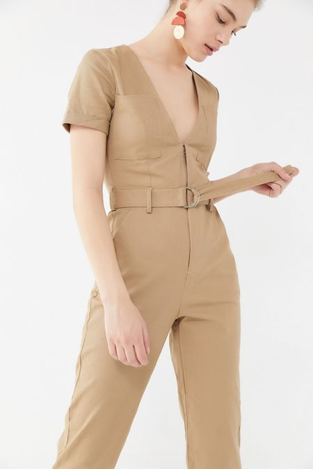a8bf78af144 Tiger Mist Phillipa Plunging Belted Jumpsuit. Quick Shop