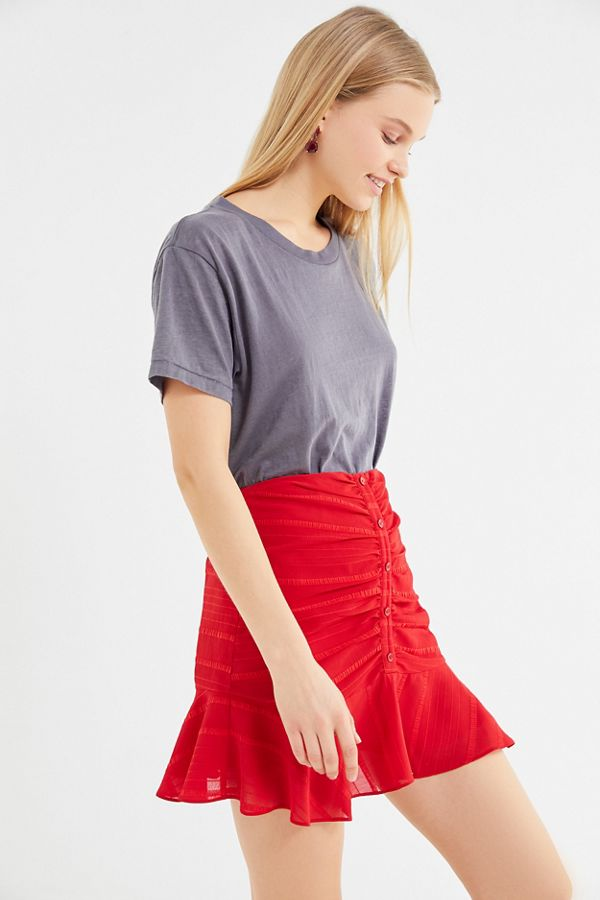eede80233 UO Nora Ruched Button-Front Mini Skirt | Urban Outfitters