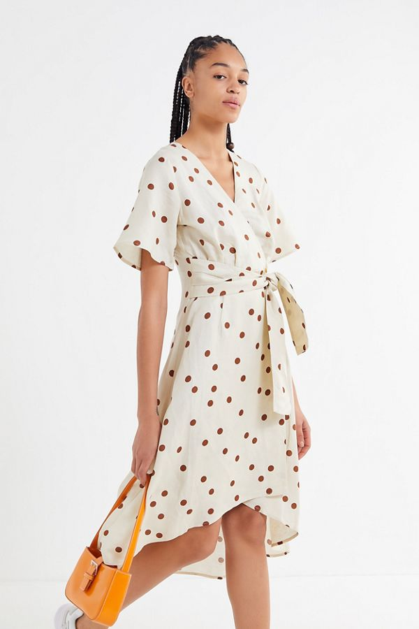 3a92ab9135f Moon River Polka Dot Asymmetrical Wrap Dress