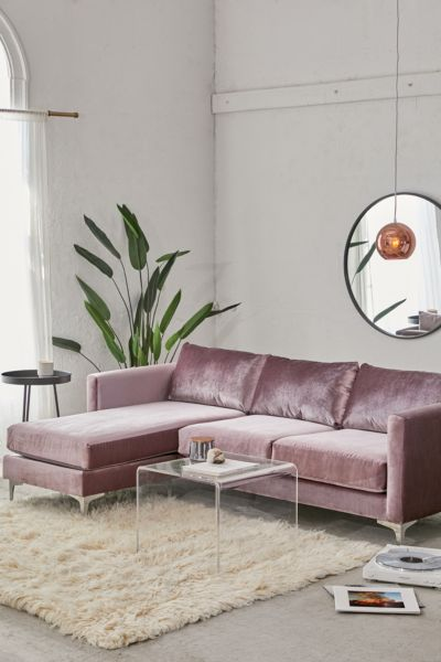 Picture of: Chamberlin Velvet Sectional Sofa Urban Outfitters