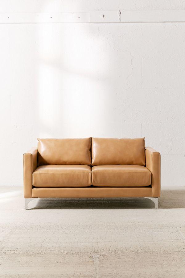 Surprising Chamberlin Recycled Leather Love Seat Pabps2019 Chair Design Images Pabps2019Com