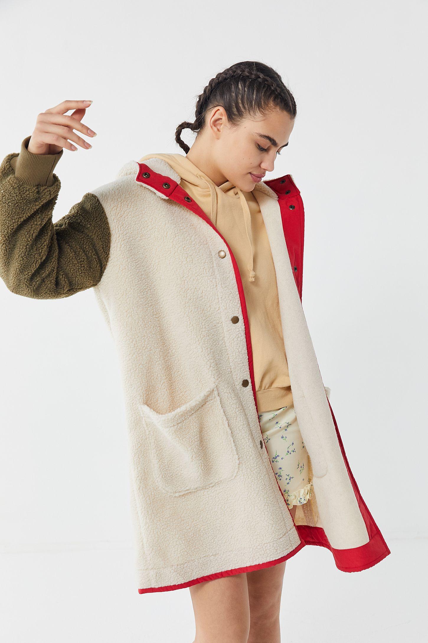 f795c49a6 UO Carson Sherpa Fleece Hooded Longline Coat