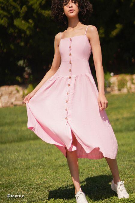 fc9361699c8a UO Linen Button-Down Drop Waist Midi Dress