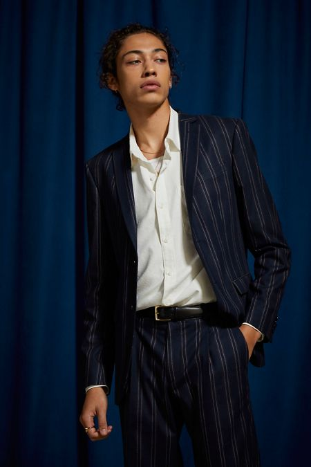 8202178019ebb UO Navy Blue Pinstripe Slim Fit Single Breasted Suit Blazer