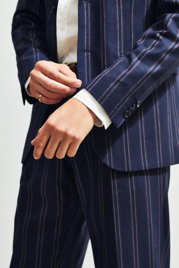 e61fbd242a3f Slide View: 3: UO Navy Blue Pinstripe Slim Fit Single Breasted Suit Blazer