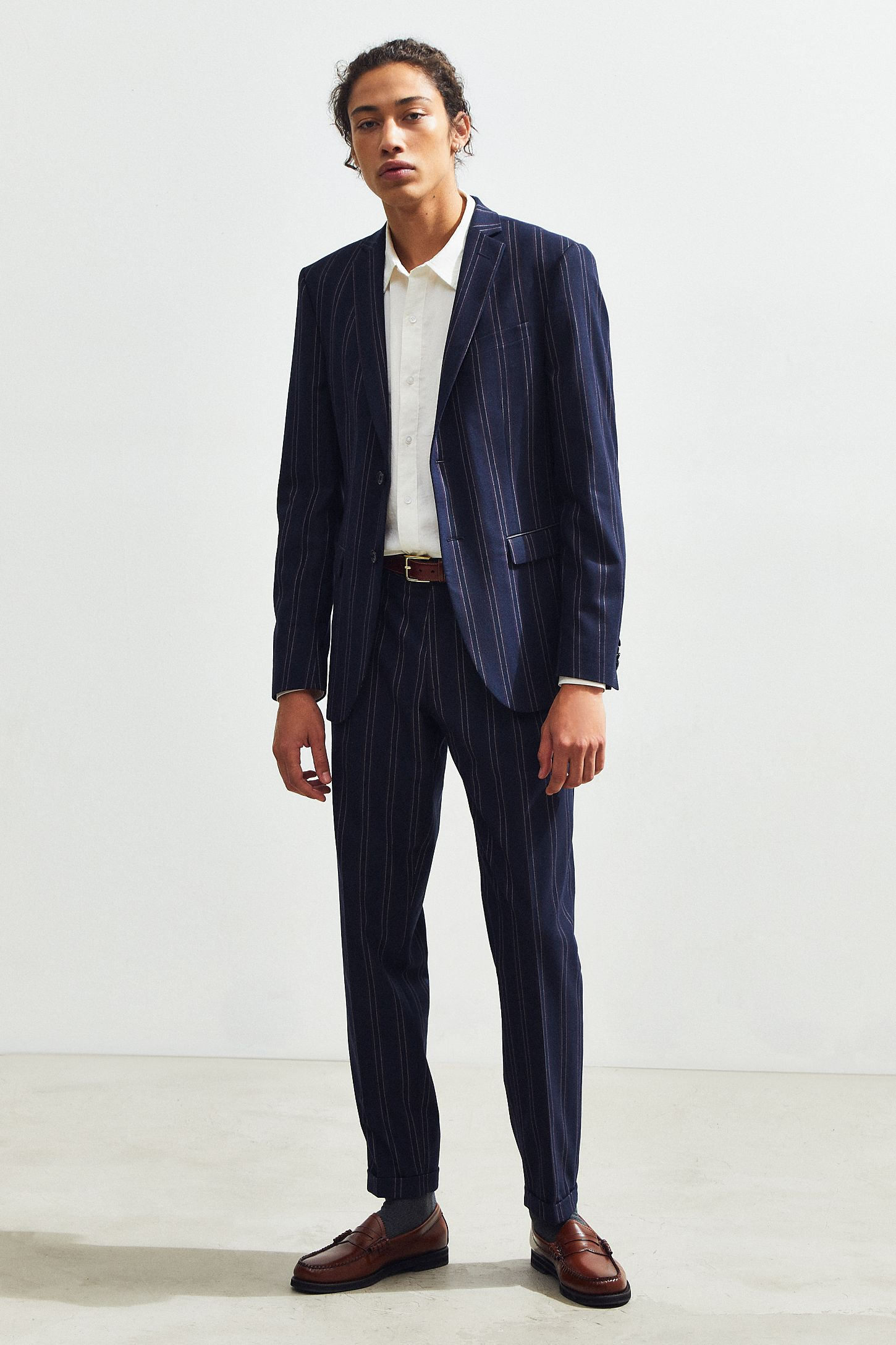 Uo Navy Blue Pinstripe Slim Fit Suit Pant Urban Outfitters