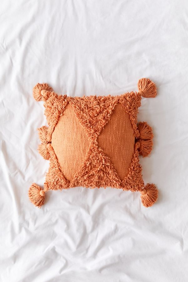 Rumi Orange Shag Throw Pillow by Urban Outfitters