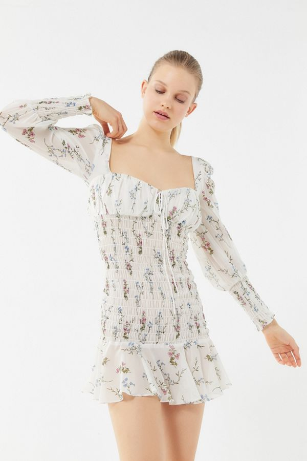 b7ed40c3a05d For Love & Lemons Dixon Floral Smocked Mini Dress | Urban Outfitters