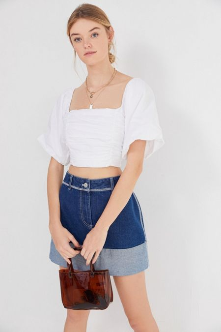 985eb59774 BDG Rowan Denim Cuffed Mini Skirt