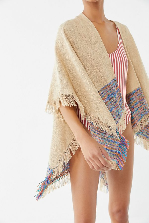 Uo Woven Fringe Ruana by Urban Outfitters