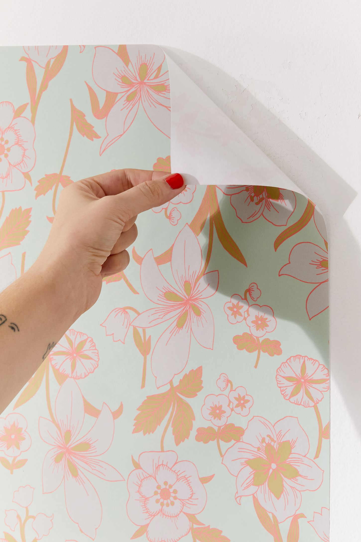 Pastel Floral Removable Wallpaper Urban Outfitters