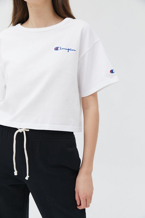 8de7c854 Champion Script Logo Cropped Tee | Urban Outfitters Canada