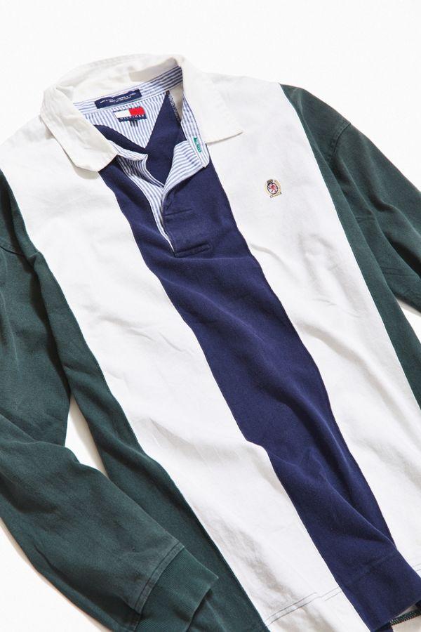 05c64e6d Vintage Tommy Hilfiger Vertical Stripe Crest Rugby Shirt | Urban ...