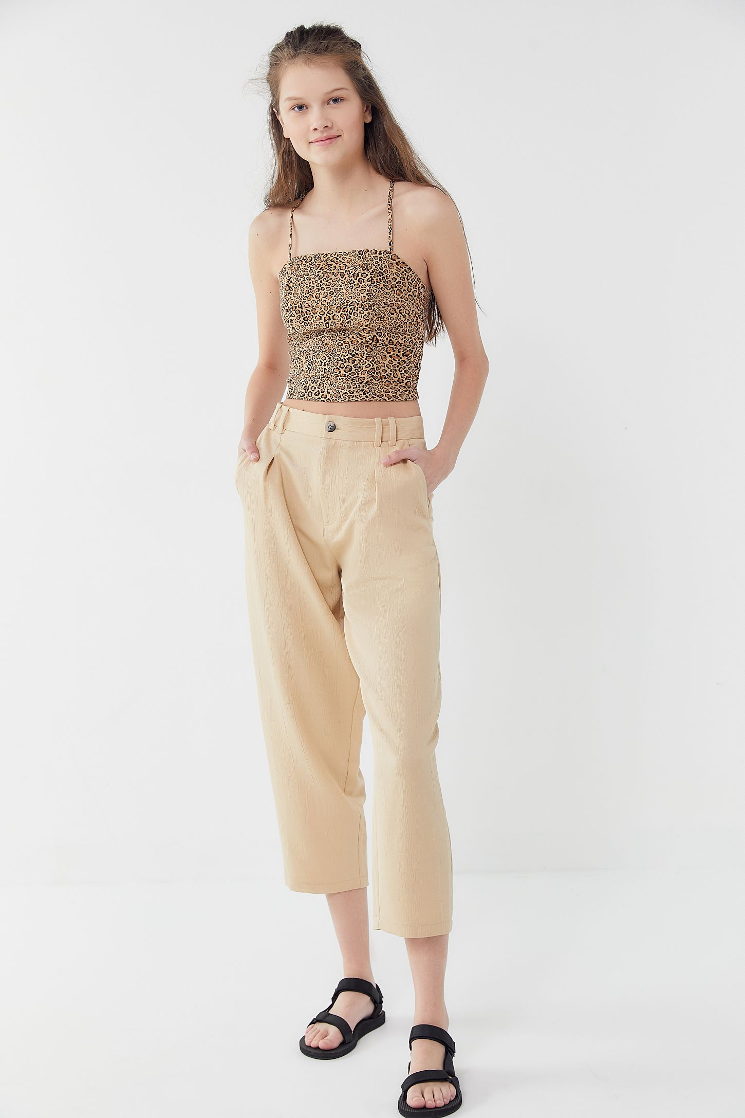 5237829850cd70 Double Tap to Zoom. Slide View: 4: UO Cardi Linen Strappy Tie-Back Cropped  Top