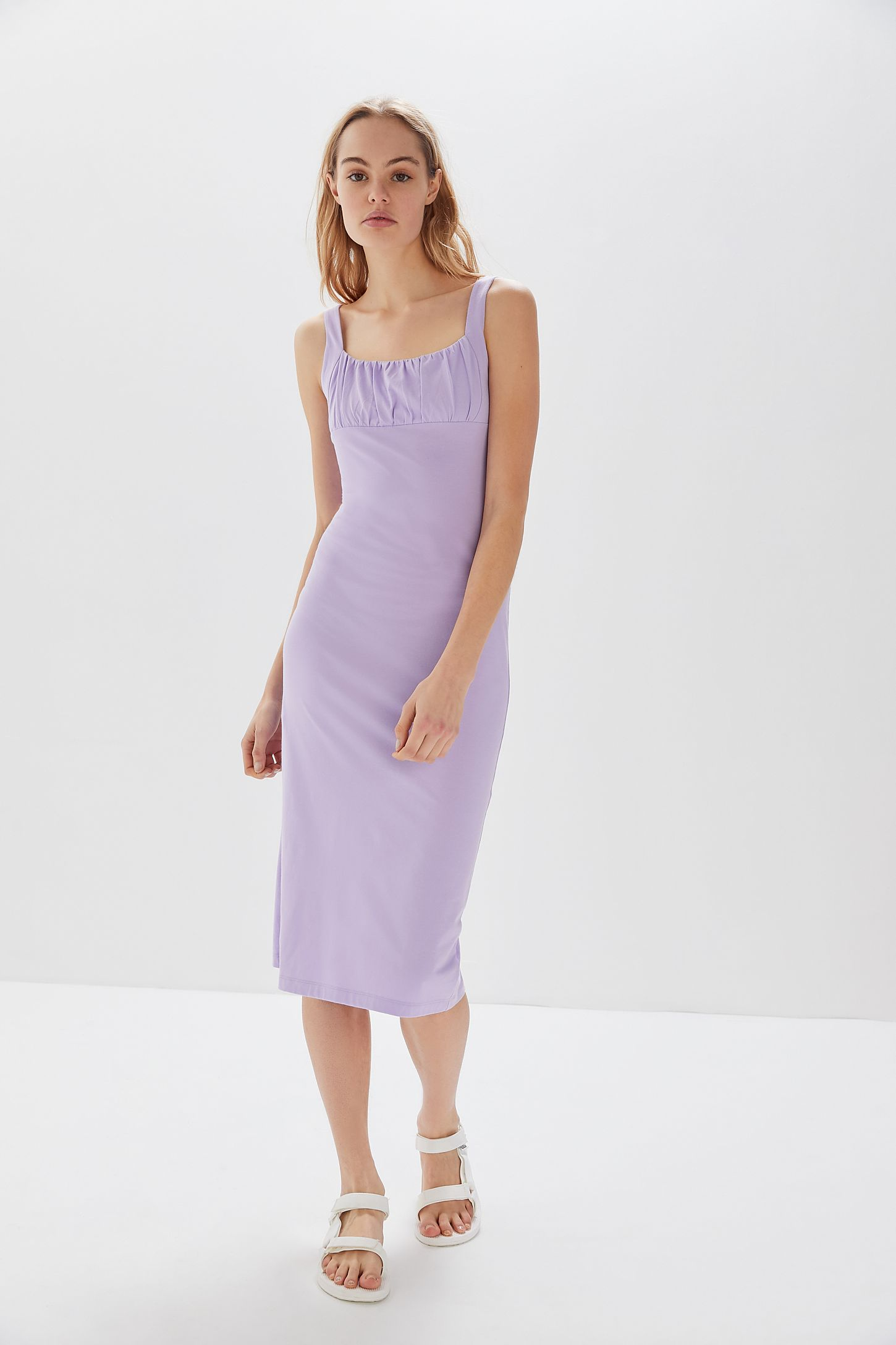 fdd7c6a847d3 UO Geneva Ruched Empire Waist Midi Dress | Urban Outfitters