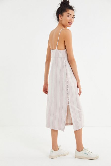 51e36107d43 UO Sicily Linen Side-Button Midi Slip Dress