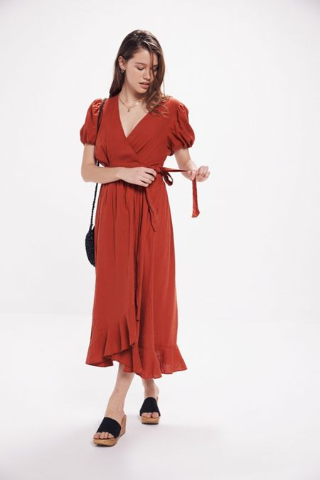 20bed7d6e0a9 UO Amalfi Linen Midi Wrap Dress