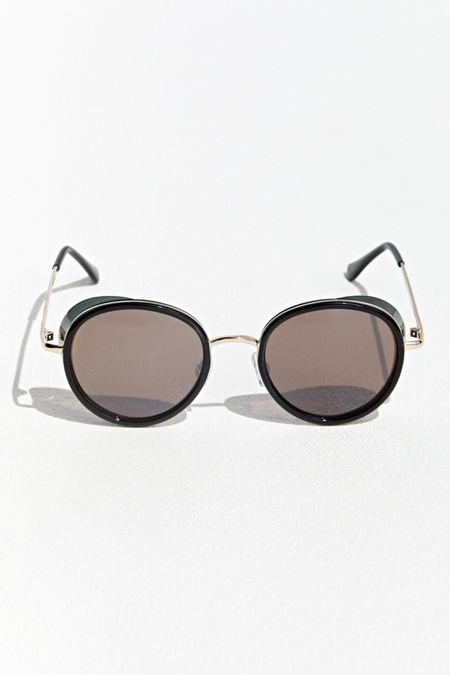 2d6dfe1219016 Rounded Metal Blinder Sunglasses