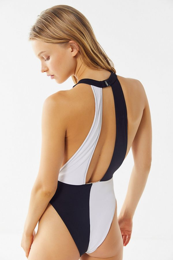 47a09c8e96da1 Volcom Simply Rib High-Neck One-Piece Swimsuit | Urban Outfitters