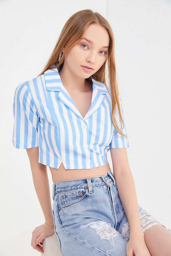 195c38a0 Capulet Fara Striped Cropped Button-Down Shirt | Urban Outfitters
