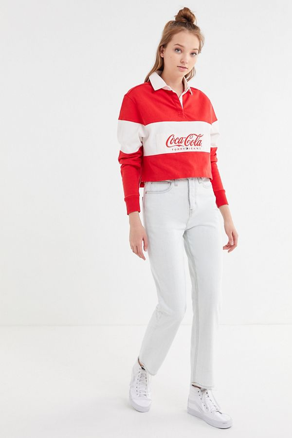 23727576b45 Slide View: 3: Tommy Jeans X Coca-Cola UO Exclusive Cropped Rugby Shirt
