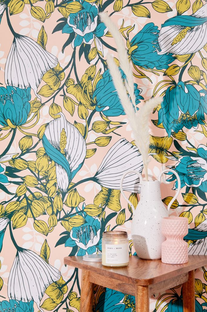 Tropical Bloom Removable Wallpaper Urban Outfitters