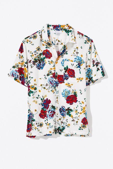 6d7f49a7619f UO Liam Organic Floral Short Sleeve Button-Down Shirt