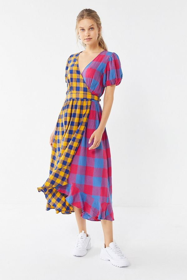 d9baba21821 UO Anna Linen Mixed Plaid Midi Wrap Dress | Urban Outfitters