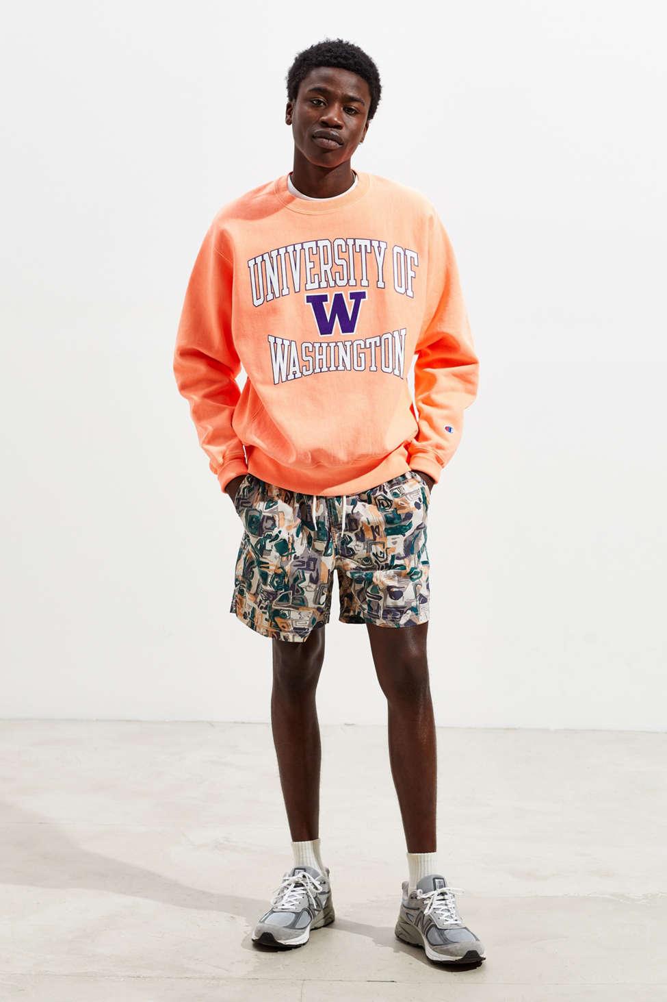 Champion University Of Washington Neon Crew Neck Sweatshirt by Champion