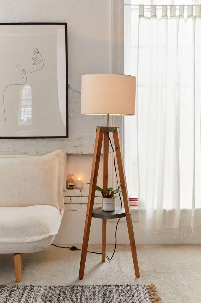 Miles Mid Century Side Table Floor Lamp