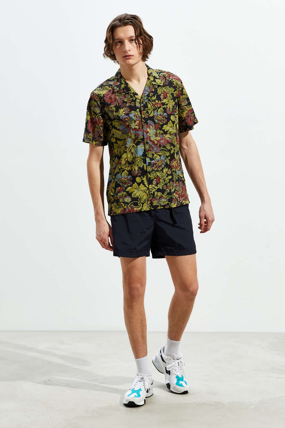 Uo Printed Breezy Short Sleeve Button Down Shirt by Urban Outfitters