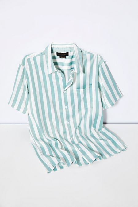 3dee52e361a9d UO Basic Vertical Stripe Satin Short Sleeve Button-Down Shirt