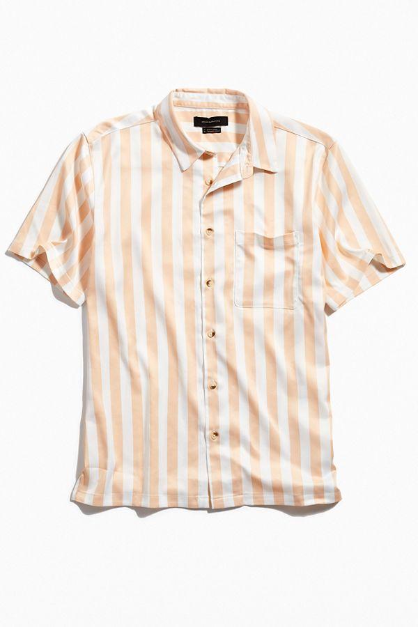 UO Basic Vertical Stripe Satin Short Sleeve Button-Down Shirt