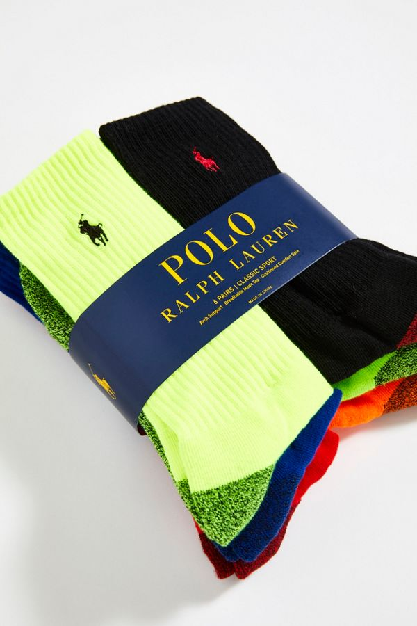 Mi De Fluorescentes Mollet Paquet Lauren Polo Chaussettes Sport Chinées Ralph 6 Yvgf76byI