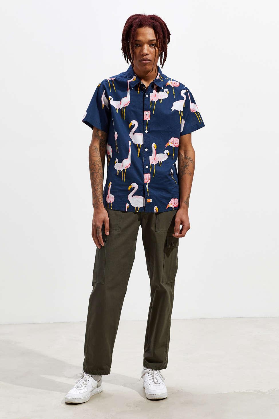 Ambsn Mingo Short Sleeve Button Down Shirt by Ambsn