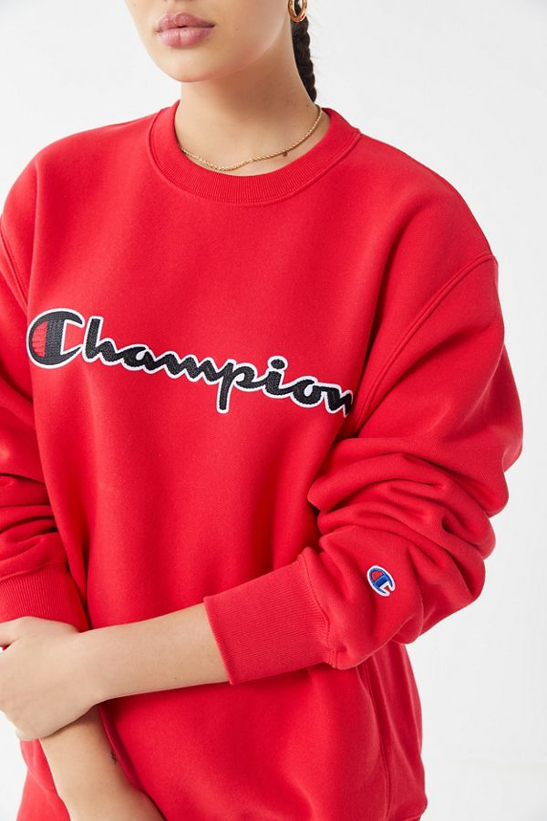 Champion Neck Oversized Crew Stitch SweatshirtUrban Chain Script 0Onw8Pk
