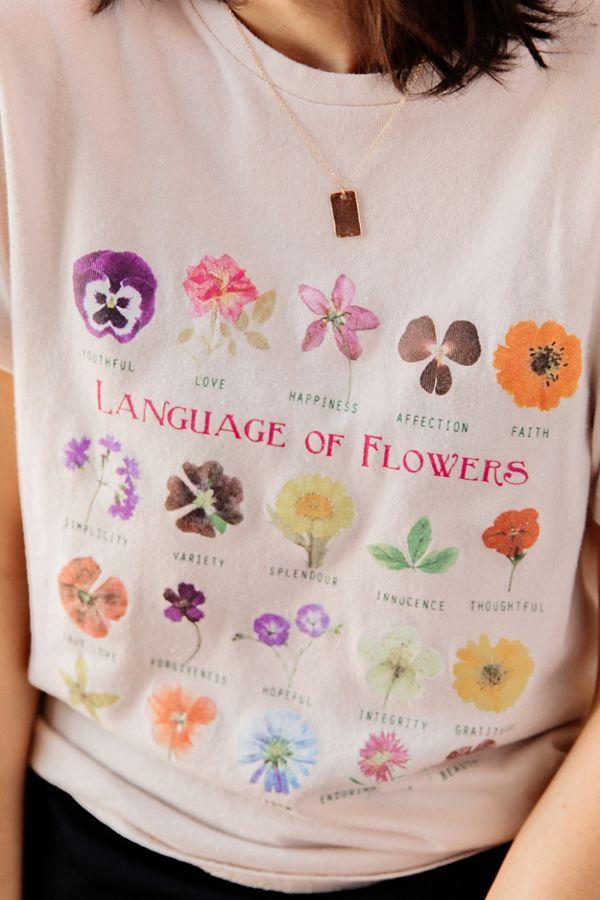 Slide View: 1: Language Of Flowers Chart Tee