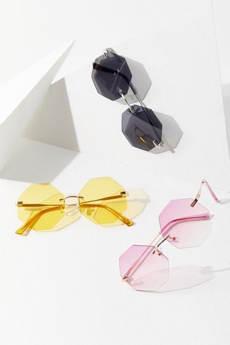 d4ede576576 Stevie Rimless Hexagon Sunglasses