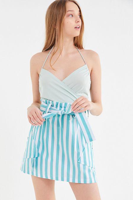 5eb436ef57e UO Tiffany Belted Paperbag Mini Skirt