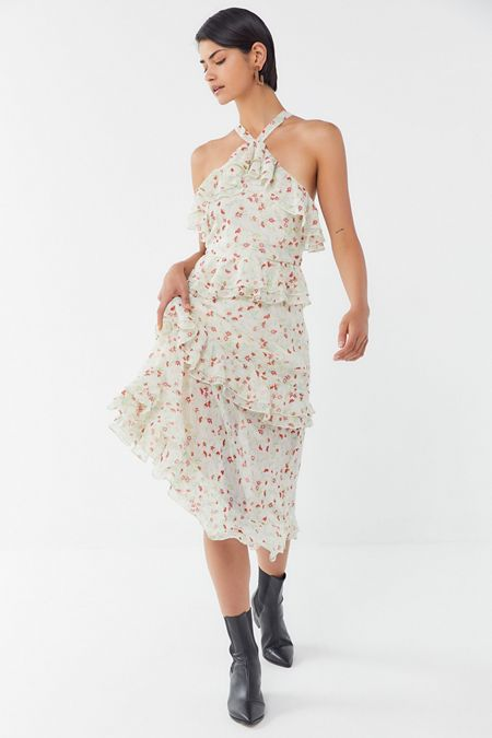 427cf863486 UO Sacramento Tiered Ruffle Cross-Back Midi Dress
